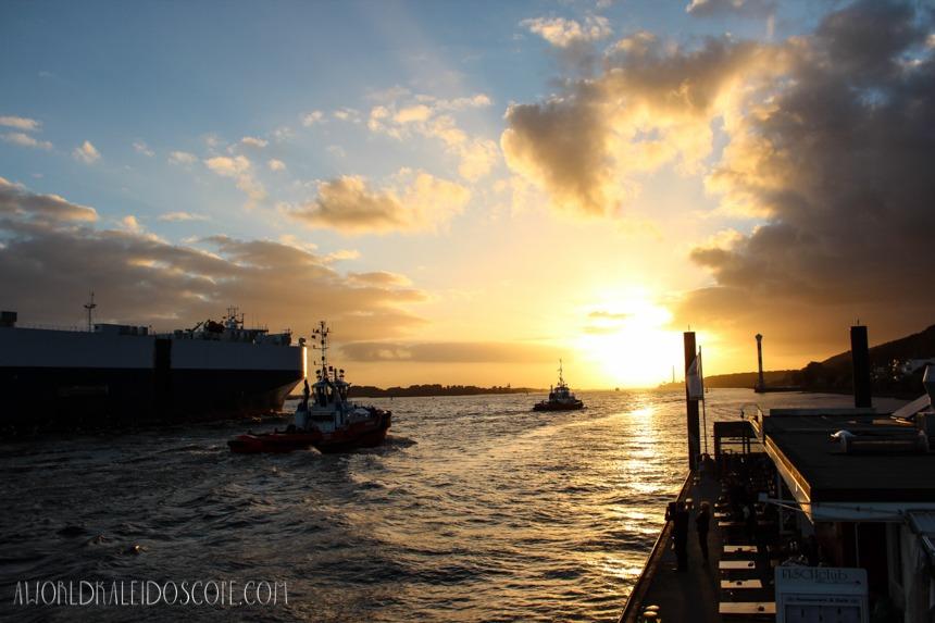 Sunset Cargo Ships Blankenese Frachter Hamburg