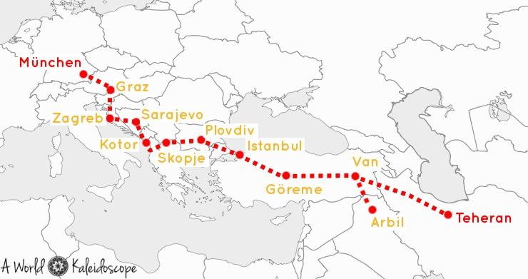 Map Itinerary Germany Balkans Istanbul Iran