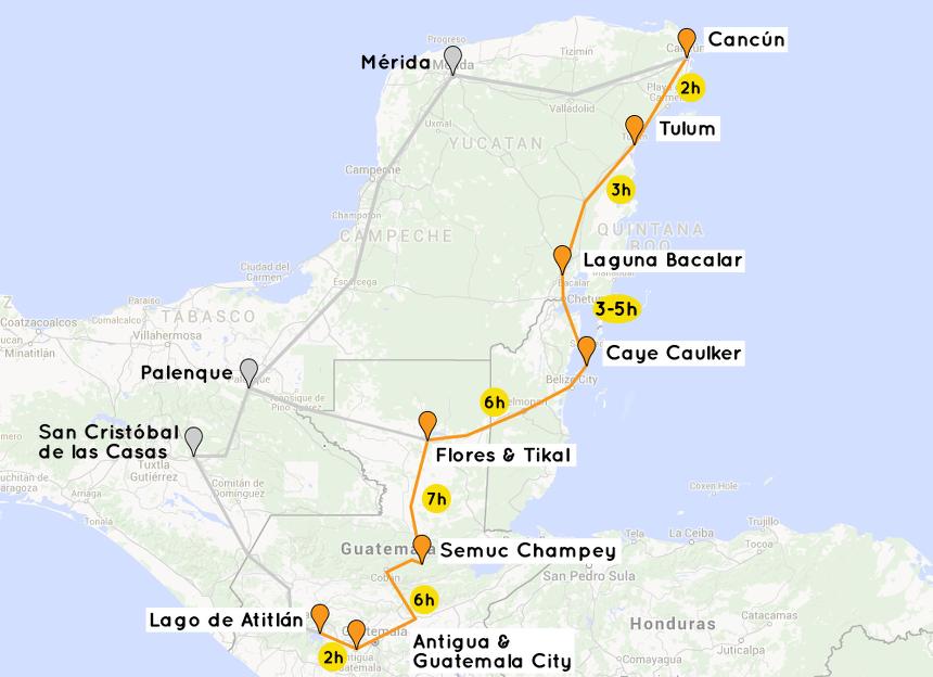 reiseroute-mexico-belize-guatemala-maps